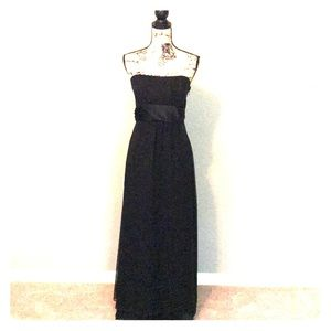 Jenny Yoo Stunning Black Silk Strapless Maxi Dress